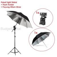 Light Stand + Flash holder + Umbrella / Payung Hitam Silver - 2 Meter - Hitam