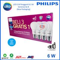 Lampu LED Bulb Philips 6.5W Paket 3 free 1 - Putih
