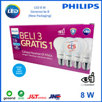 Lampu Philips LED 8 WATT 8WATT 8W 8 W (1 Paket isi 4 pcs)