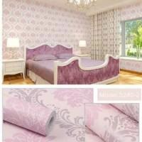 Wallpaper stiker motif batik pink