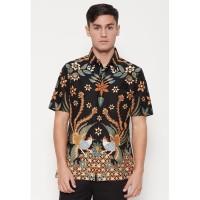 Batik Semar Kemeja batik pria Pendek Buh kawung Hitam - XL