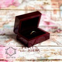 Dark Brown Rustic Wood Ring Box Velvet   Kotak Cincin Kawin Kayu