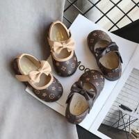 sepatu flat casual korea coklat pita gucci anak perempuan impor murah