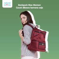 Natural Moms Cooler Bag Max Backpack MAROON / Tas Asi Bayi