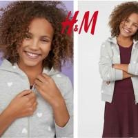 Promo Hnm Love Grey Hoodie Jacket - Jaket Anak Cewek Kekinian - Jaket