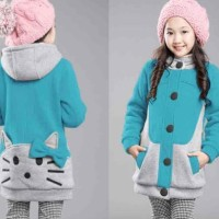 New Sale Kid Hello Kitty Turkis Combi Abu Lo Sweater Anak Babyterry