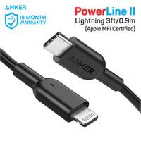 Kabel Charger Anker PowerLine II C to Lightning 3FT Black - A8632