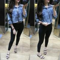 Jaket jeans crop wanita jaket Denim Model crop polos murah / big size