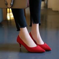 IELGY Sepatu High Heels Ujung Lancip Bahan Suede untuk Pernikahan