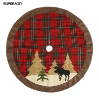 Gratis Ongkir Superain Christmas Tree Skirt Plaid Elk Print Apron