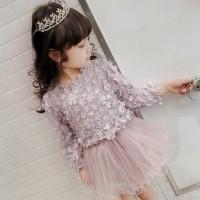 VFA1127 Dress Princess Anak Perempuan Lucu Lengan Panjang Motif Bunga