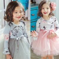 Dress Tutu Bayi Perempuan Lengan Panjang Motif Bunga Aksen Pita