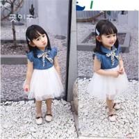 Xzq-kids Dress Denim Casual Anak Perempuan Lengan Ruffle Lucu untuk
