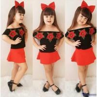 Xzq-set Baju Off Shoulder Sabrina Motif Bunga Mawar 3D untuk Bayi