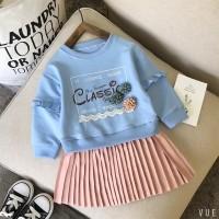 VFA1575 Dress Katun Bayi Perempuan Lengan Panjang Motif Bunga untuk Mu