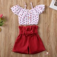 ❤XZQ-Summer Baby Kids Girls Set Toddler Dot Off Shoulder Sling