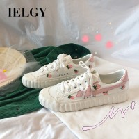IELGYPink canvas shoes women's wild small strawberry hand-painted
