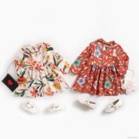 VFA1198 Dress Anak Perempuan O Neck Lengan Panjang Motif Print Bunga u