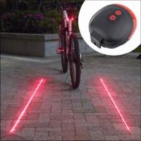 Aksesoris Sepeda: Lampu Belakang Sepeda 5 LED 2 Sinar Laser Untuk