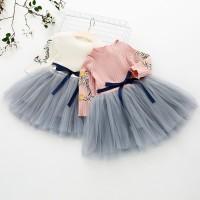 VFA2443 Dress Anak Perempuan Lengan Panjang Bahan Mesh Bordir Bunga un