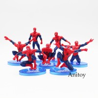 7Pcs / Set Action Figure Spiderman Bahan PVC untuk Koleksi