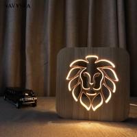 Baru NS Lampu LED Model Singa Bahan Kayu untuk Dekorasi Kamar Tidur