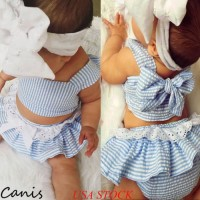 EEE-Newborn Baby Girl Short Top Striped Lace Bow Skirts Headband