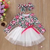 Xzq-dress Princess Anak Perempuan Lengan Panjang Motif Bunga Mawar