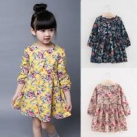 VFA1214 Dress Princess Lengan Panjang Motif Print Bunga untuk Musim Se