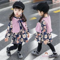 2Pcs Dress Lengan Panjang Motif Bunga+Rompi Bulu Imitasi untuk