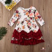 Xzq-kids Dress Princess Lengan Panjang Motif Bunga Warna Putih untuk
