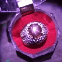 Batu Permata Ruby Star Ring Perak