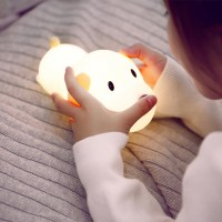 Cute Silicone Touch Led Night Light USB Puppy Timing Dimmable Lamp