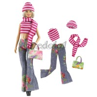 Sweet 30cm Girl Doll Casual Outfit Striped Top Hat & Pants Suit