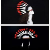 Kostum Topi Kepala Suku Indian Aksen Bulu-Bulu untuk