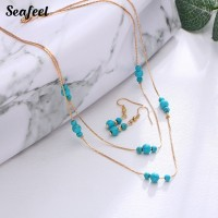Seafeel 3Pcs / Set Kalung Rantai dengan Liontin Batu Turquoise