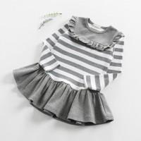 Dress Model Round Neck Lengan Panjang Motif Garis Bordir Bunga untuk