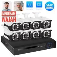 KERUI Paket CCTV POE NVR 8 Channel 8 kamera Mendeteksi Wajah