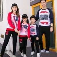SWEATER COUPLE FAMILY BAJU PASANGAN KELUARGA LENGAN PANJANG FLAG 11106