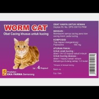 WORM CAT EKA FARMA/OBAT CACING KUCING 4 KAPSUL NO DRONTAL CANIVERM