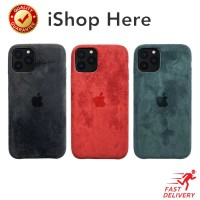 Casing Suede Leather Case with Apple logo Hardcase iPhone X XR XS Max