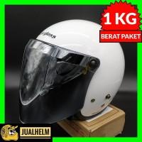 Helm Cargloss Retro | Super White + Kaca Snail Silver (Kaca Bogo)