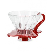 HARIO V60 GLASS COFFEE DRIPPER RED 01 VDG-01R