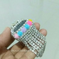 tasbih digital diamond swarovski juntai silver bunga