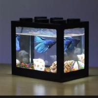 Aquarium Mini Kecil Susun Lampu Led ikan hias cupang colokan usb