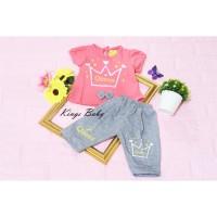 Setelan Celana Joger Anak Bayi - 1 Tahun Perempuan - Mahkota - Merah Muda