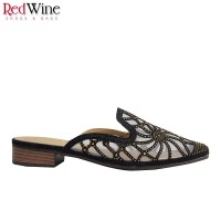 Red Wine PB14-1699D Mules Shoes Heels - Silver, 36