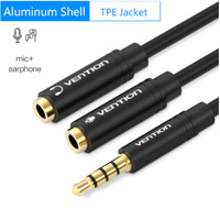 Vention [BBC] Kabel Aux Audio Splitter 3.5mm 4Pole Female to 2 Male - BBV Hitam Metal