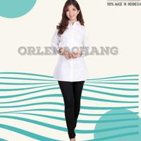 Kemeja blus wanita Putih polos lembut body panjang seri BIANCA