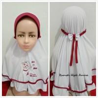 Jilbab Anak Kaos Sekolah Pita Karet Hijab Putih Merah